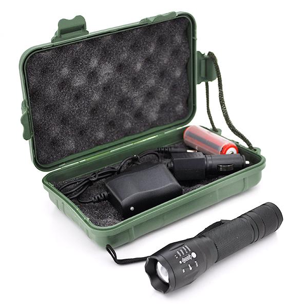 Купить Фонарик ручной, 3 реж., Zoom, корпус- алюминий, ударостойкий, 18650 ак-тор, СЗУ+АЗУ, BOX