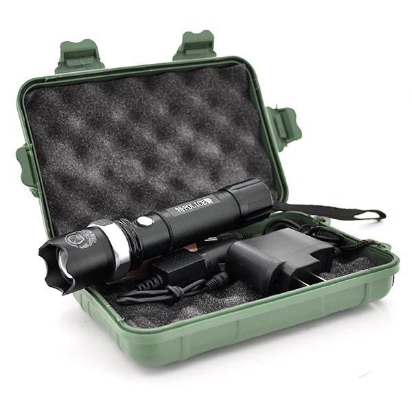 Купить Фонарик ручной 911, 3 реж., Zoom, корпус- алюминий, ударостойкий, 18650 ак-тор, СЗУ+АЗУ, BOX