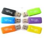 Купить Кардридер универсальный MERLION CRD-1GR TF/Micro SD, USB2.0, Green, OEM Q50