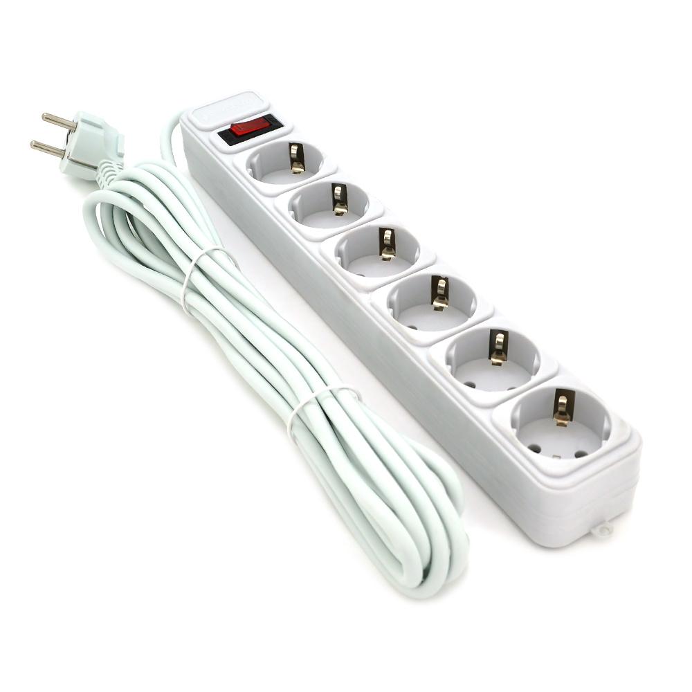 Купить Сетевой фильтр ALFA W350, 220В 10А,  3 розетки, 5,0 m, white (50)