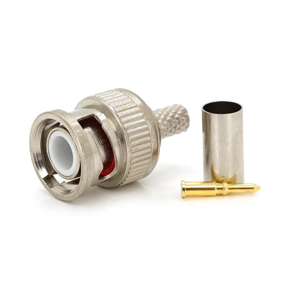Купить РазъемВBNC-M под коаксиальный кабельВRG-58,  RG-59, RG-6  Q100