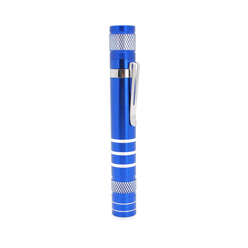 Купить Карманный фонарик, 1LED, 1 режим, корпус- алюминий, питание 2*АА, 143*19мм, Blue, ОЕМ