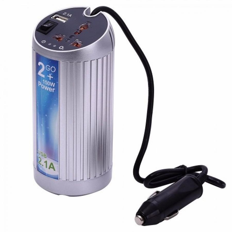 Купить Инвертор напряжения в прикуриватель, 150Вт, 12/220 с аппроксимированной синусоидой, универсальная розетка, 1 USB выход, (в форме банки), Blister