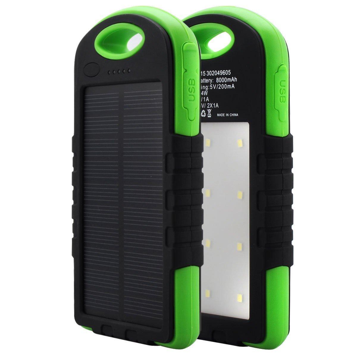 Купить Power bank 12000 mAh Solar, (5V/200mA), 2xUSB, 5V/1A/2.1A, USB  microUSB, влаго/ударо защищеный прорезиненный корпус, Black/Blue, Corton BOX