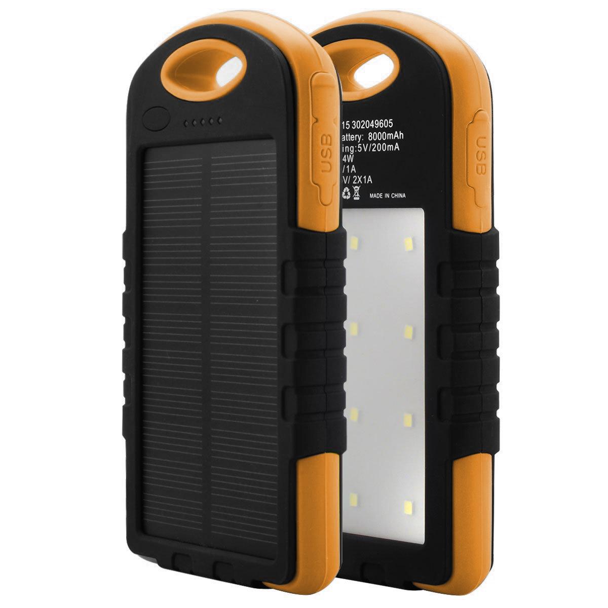 Купить Power bank 12000 mAh Solar, (5V/200mA), 2xUSB, 5V/1A/2.1A, USB  microUSB, влаго/ударо защищеный прорезиненный корпус, Black, Corton BOX