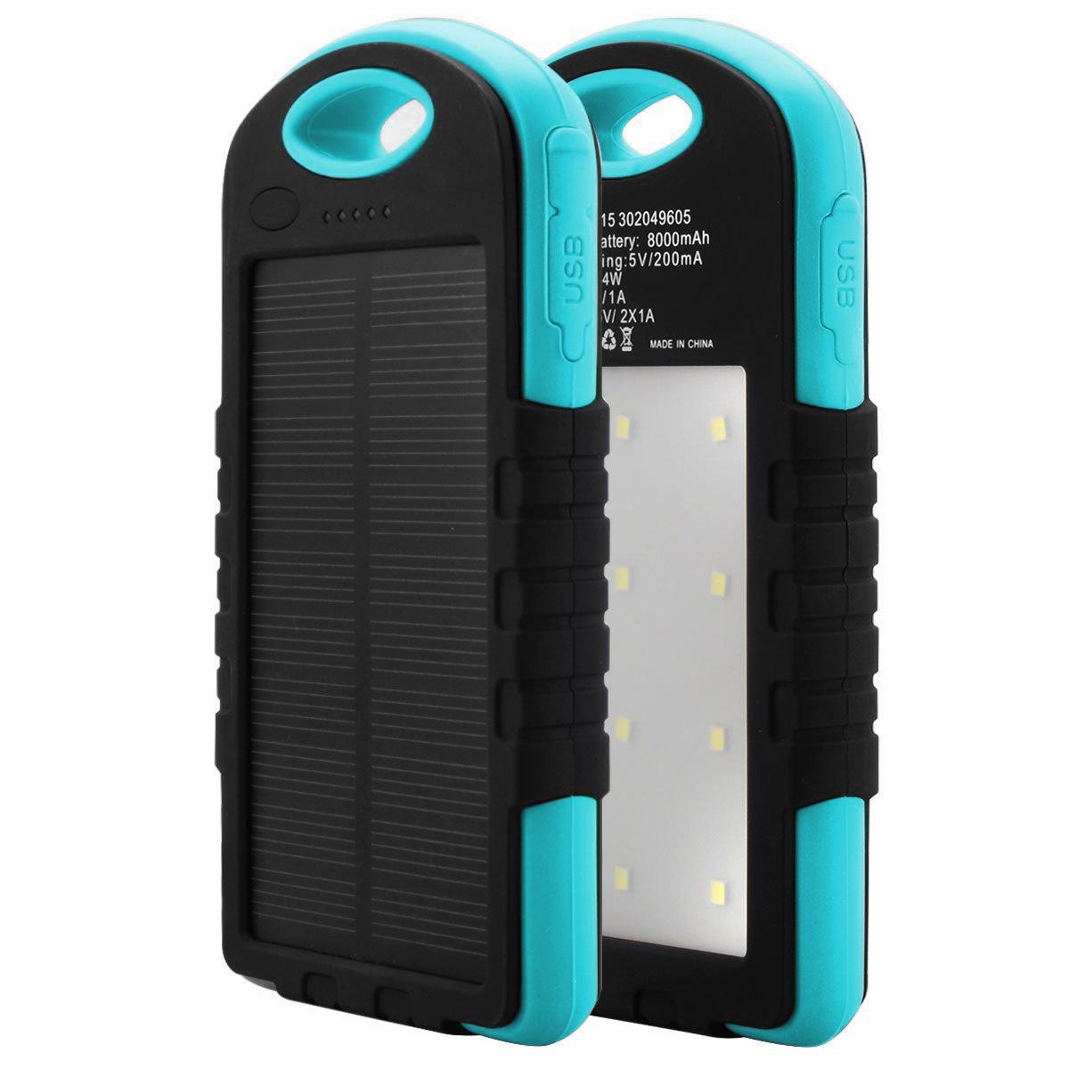 Купить Power bank 12000 mAh Solar, (5V/200mA), 2xUSB, 5V/1A/2.1A, USB  microUSB, влаго/ударо защищеный прорезиненный корпус, Black/Orange, Corton BOX