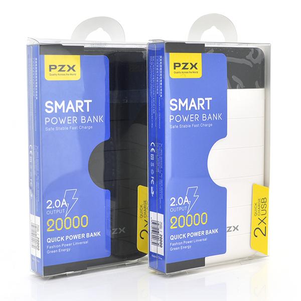 Купить Power bank 20000mAh PZX-C158, USB-1A + mini USB +кабель USB micro, LED фонарик, Silver, Blister-BOX