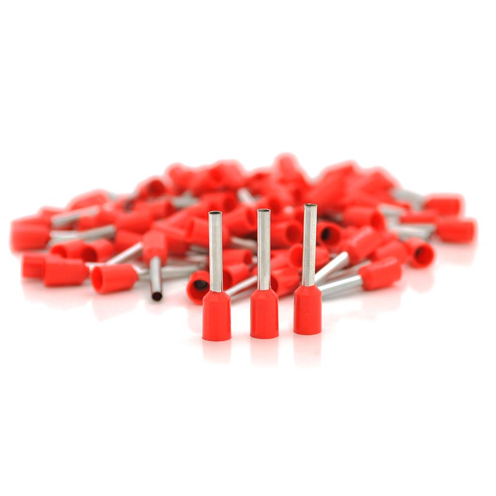 Купить Кабельный наконечник VE1018, 1,0мм сечение зажимаемого кабеля, длина медной трубки 18мм, изоляция, 1000шт в упаковке, цена за упаковку