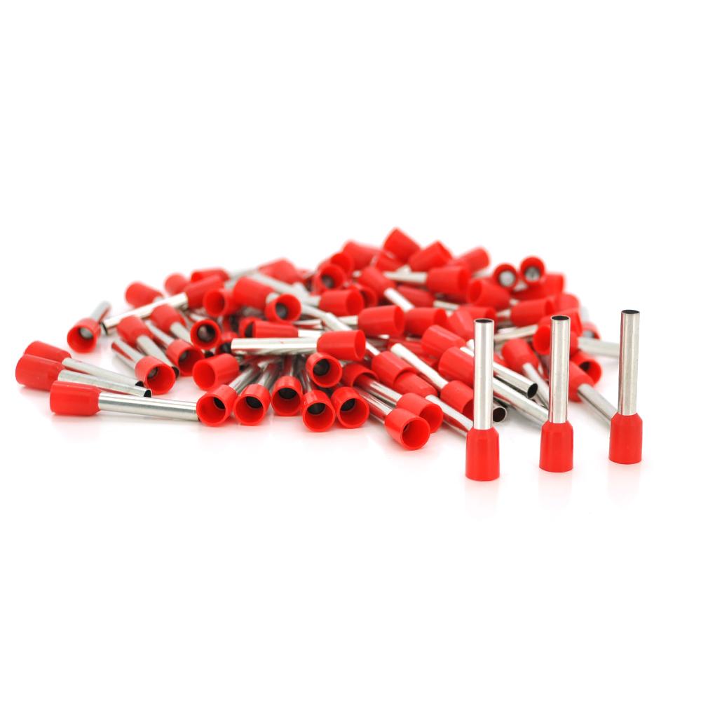Купить Кабельный наконечник VE4018, 4,0мм сечение зажимаемого кабеля, длина медной трубки 18мм, изоляция, 1000шт в упаковке, цена за упаковку