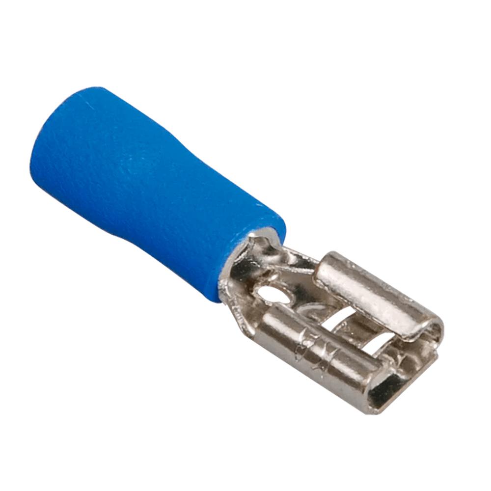 Купить Разъем виброустойчивый плоский FDD2-250, провод 1.5-2.5, изолированный, максимальный ток 15А, под обжимку, латунь, 1000шт в упаковке, цена за упаковку