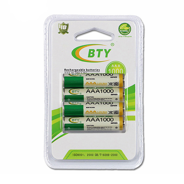 Купить Аккумулятор BTYAAA1000/4B 1.2V  AAA 1000mAh NiMH Rechargeable Battery, 4 штуки в блистере цена за блистер