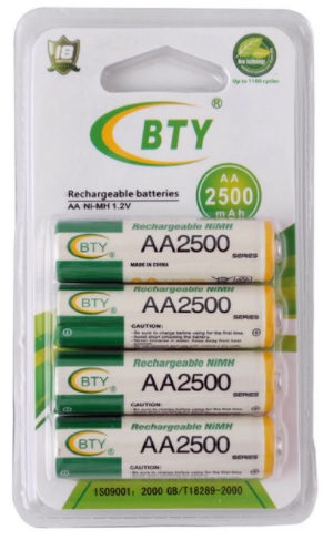 Купить Аккумулятор BTYAA2500/4B 1.2V  AA 2500mAh NiMH Rechargeable Battery, 4 штуки в блистере цена за блистер