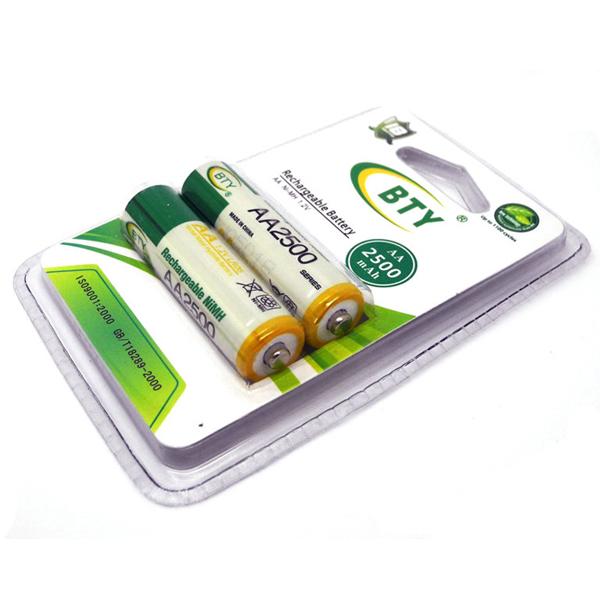 Купить Аккумулятор BTYAA2500/2B 1.2V  AA 2500mAh NiMH Rechargeable Battery, 2 штуки в блистере цена за блистер