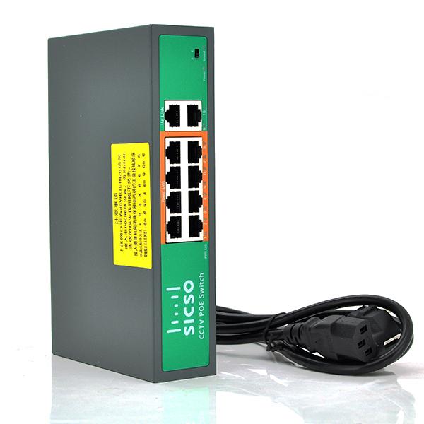 Купить Коммутатор POE SICSO 48V с 8 портами POE 100Мбит + 2 порт Ethernet(UP-Link) 100Мбит, c усилением сигн.  до 250м, корпус -металл,Silver, БП встроенный