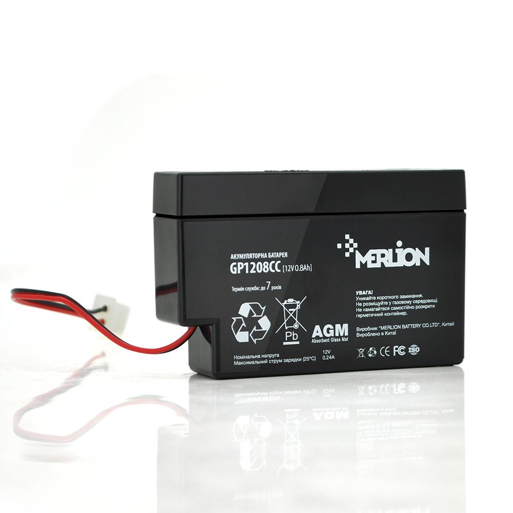 Купить Аккумуляторная батарея MERLION AGM GP1208СС 12 V 0,8Ah ( 95 х 23 х 60 ) Q40