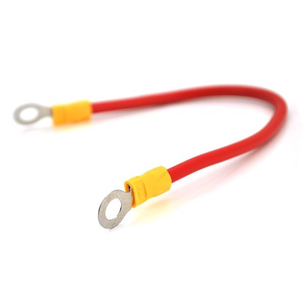 Купить Перемычка (соединитель) 350 мм 4 мм2 под болт М6 (6,3мм внутренний диаметр) для аккумуляторов, цена за штуку