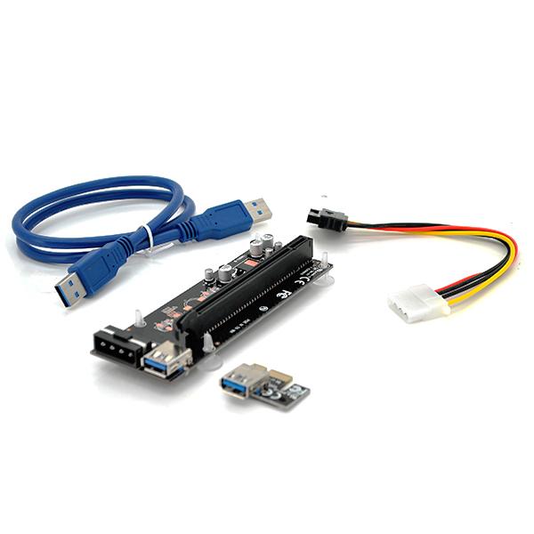Купить Riser PCI-EX, x1=>x16, 4-pin MOLEX, SATA=>4Pin, USB 3.0 AM-AM 0,6 м (черный) , конденсаторы CS 220 16V, Пакет