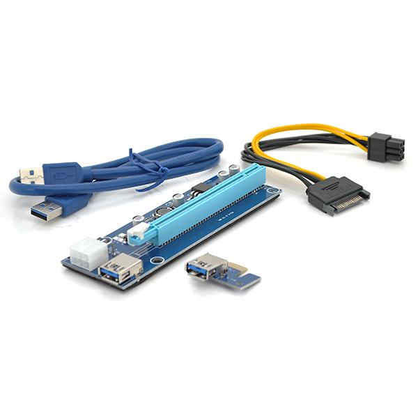 Купить Riser PCI-EX, x1=>x16, 6-pin, SATA=>6Pin, USB 3.0 AM-AM 0,6 м (синий) , конденсаторы CS 220 16V, Пакет