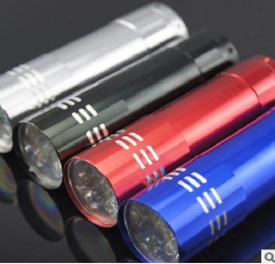 Купить Карманный фонарик, 9LED, 1 режим, корпус- алюминий, питание 2*АА, 81*20мм, Black, ОЕМ