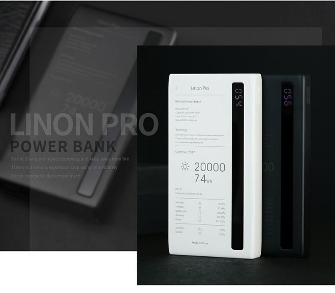 Купить Powerbank (Polymer Battery) Remax Linon Pro  RPP-73, 2xUSB, 5V, 2.1A, 20000mAh, Black, Box