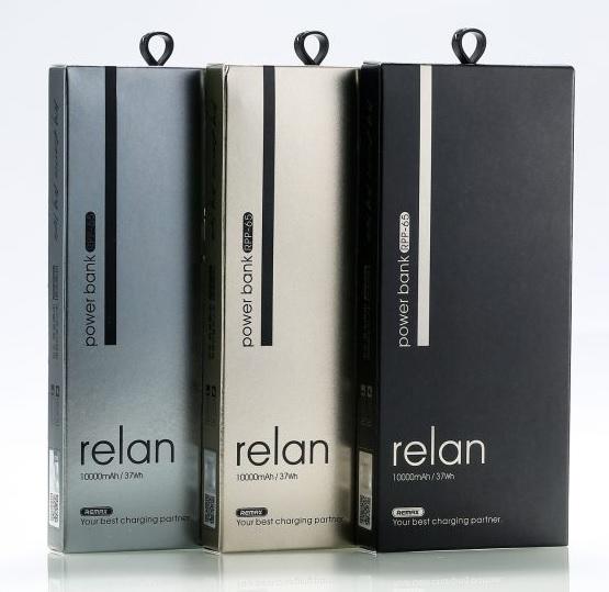 Купить Powerbank (Polymer Battery) REMAX Relan  with 2in1 data cable RPP-65 , 1xUSB, 5V, 2.1A, 10000mAh, Black, Blister