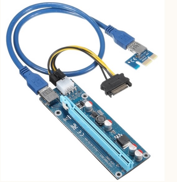 Купить Riser PCI-EX, x1=>x16, 6-pin, SATA=>6Pin, USB 3.0 AM-AM 0,6 м (синий) , конденсаторы СX270, Пакет