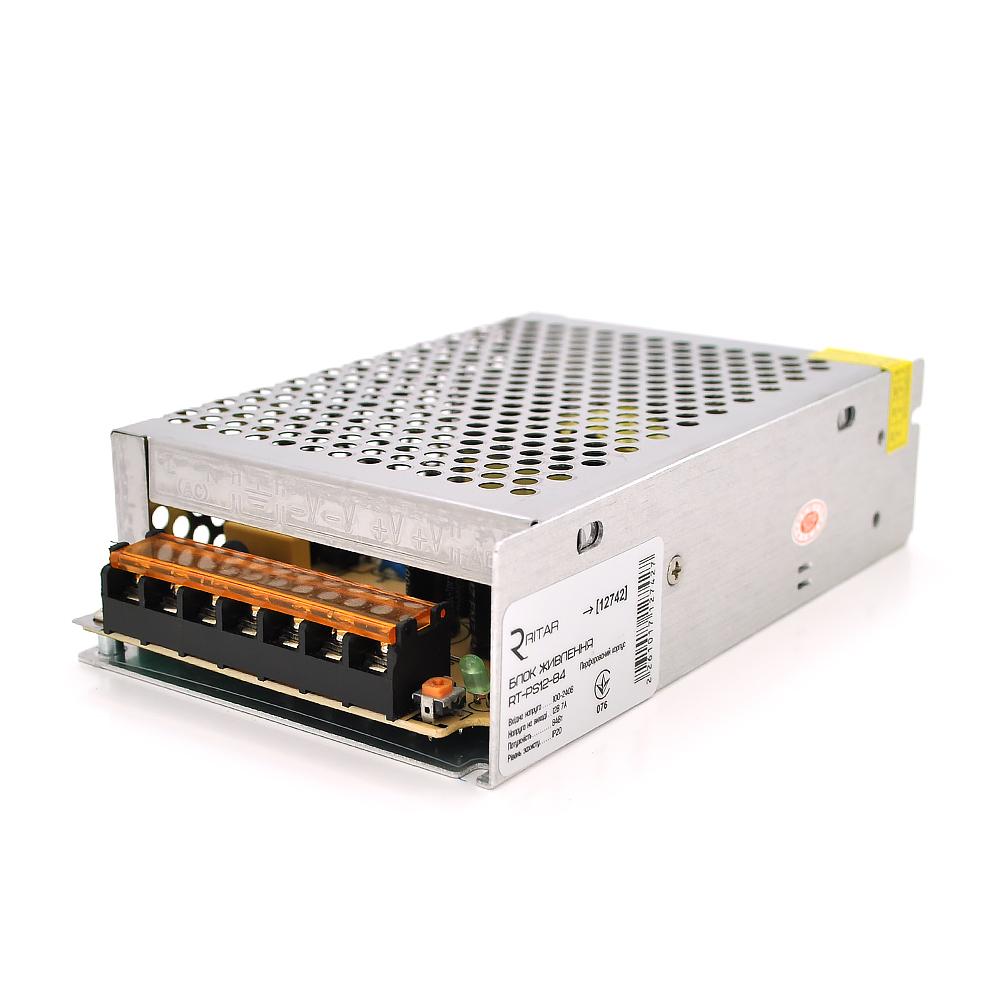 Купить Импульсный блок питания Ritar RTPS12-84 12В 7А (84Вт) перфорированный  (150*65*45)  0,28 кг (143*60*43)