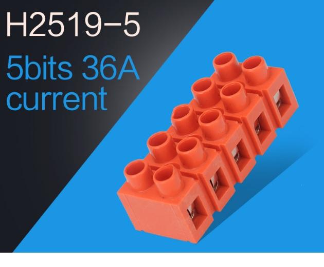 Купить Клеммный блок H2519-5P 36A/660V, материал медь, сечение провода 0.5-6мм2