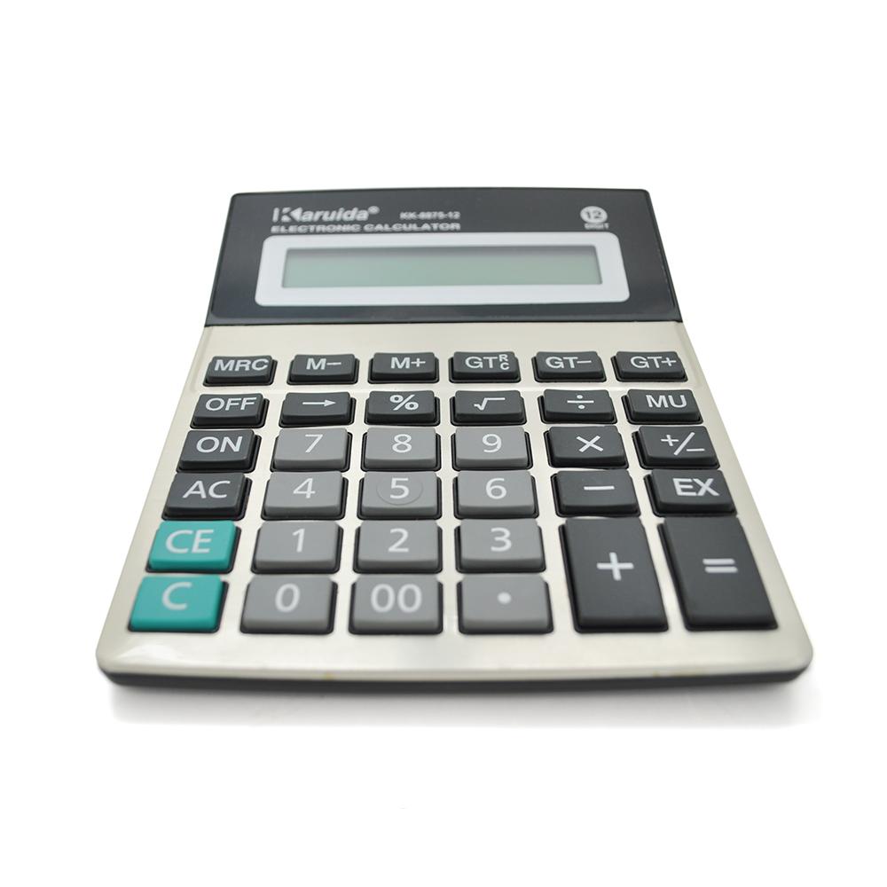 Купить Калькулятор офисный КК-8875-12, 34 кнопки, серебристый, размеры 190*145*40мм, Box