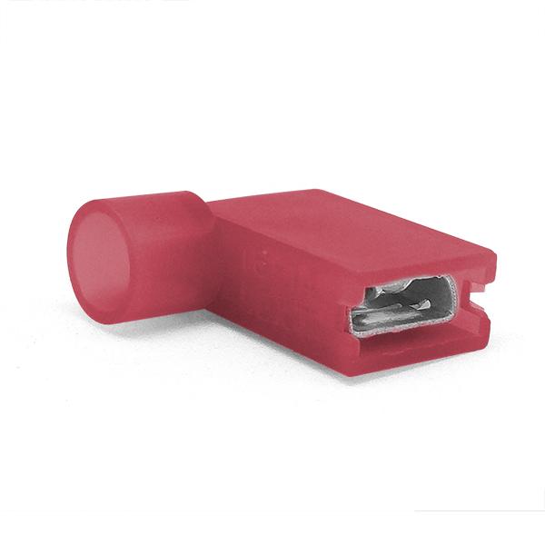 Купить Наконечник кабельный угловой ножевой (гнездо) полностью в изоляции 0.8х6.35мм, сеч. пров. 0.5-1.5мм2, 10А