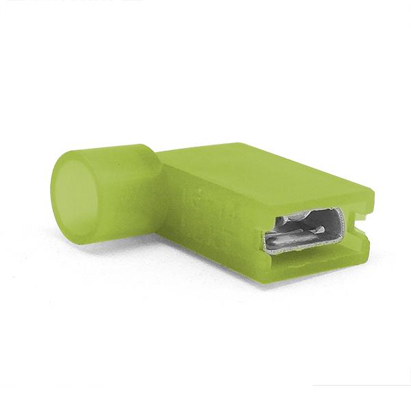 Купить Наконечник кабельный угловой ножевой (гнездо) полностью в изоляции 0.8х6.35мм, сеч. пров. 4.0-6.0мм2, 24А