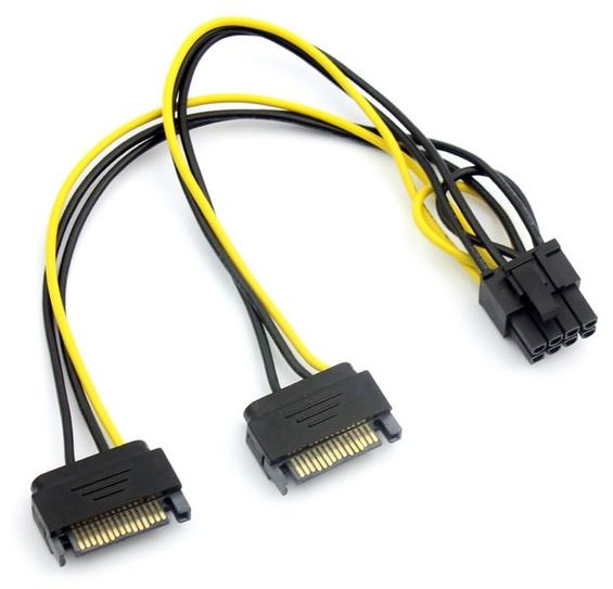 Купить Кабель-переходник для питания видеокарты SATA+SATA-->8P, OEM Q50