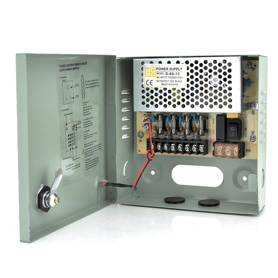 Купить Импульсный блок питания 12V-5A/4CH в боксе с замком перфорированный, 4-х канальный