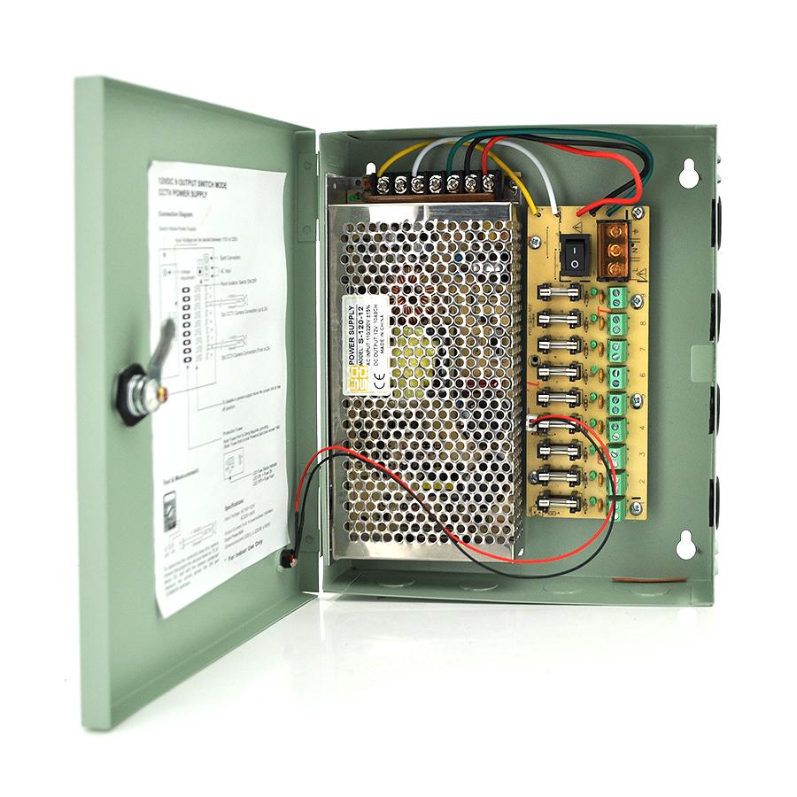 Купить Импульсный блок питания 12V-10A/9CH в боксе с замком перфорированный, 9-ти канальный