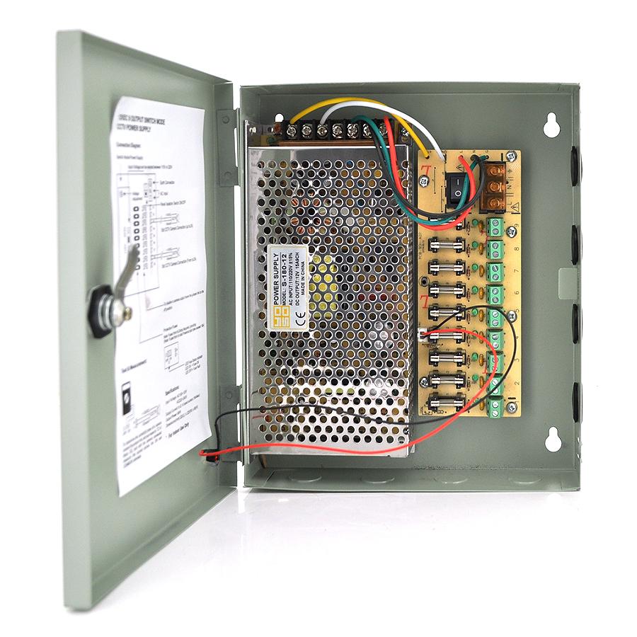 Купить Импульсный блок питания 12V-15A/9CH в боксе с замком перфорированный, 9-ти канальный