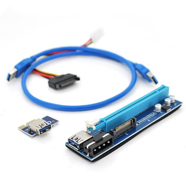 Купить Riser PCI-EX, x1=>x16, 4-pin/Sata MOLEX, SATA=>4Pin, USB 3.0 AM-AM 0,6 м (черный) , конденсаторы UER, Пакет