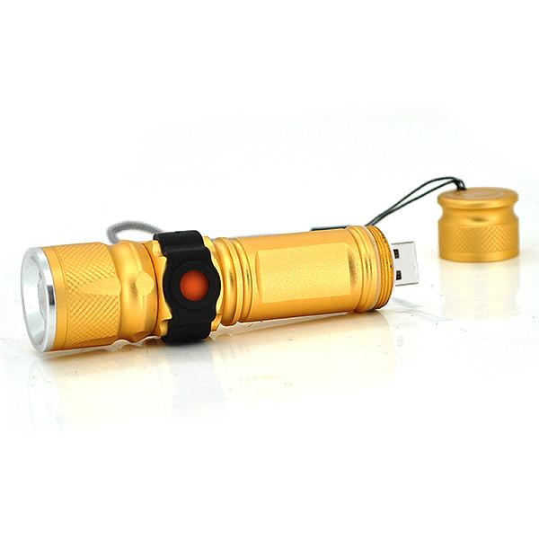 Купить Карманный фонарик JY-515-XML, 1LED, 1 режим, корпус- алюминий, питание USB2.0, микс-цвет, ОЕМ
