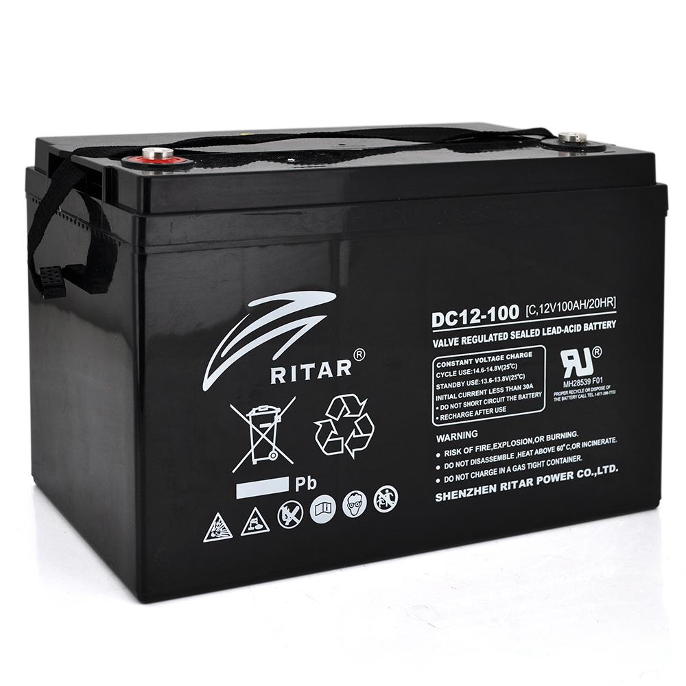 Купить Аккумуляторная батарея CARBON RITAR DC12-100C, Black Case, 12V 100.0Ah, 2000-5000 циклов, до 15 лет срок службы, 355*250*260 31,5 кг 325*21 (220) ) Q1