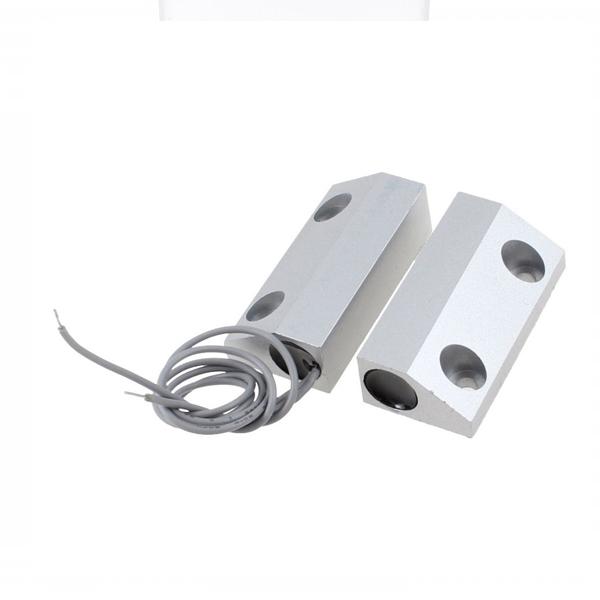 Купить Датчик магнитоконтактный с проводом 30 см MC-52, 35*14*8 мм, цинковый сплав, серый, под саморез, 10 штук в упаковке, цена за штуку