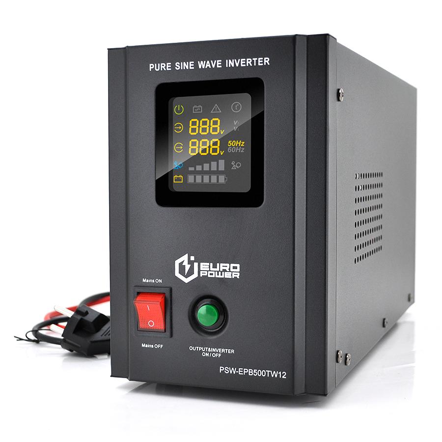 Купить ИБП с правильной синусоидой Europower PSW-EPB500TW12 (300 Вт) 5 \/ 10А, под внешнюю АКБ 12В , Q2 (415*200*280) 5,23 кг (346*145*210(220))