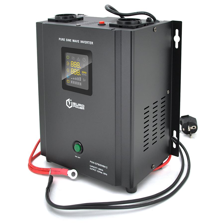 Купить ИБП с правильной синусоидой Europower PSW-EP800WM12 (480 Вт) 5 \/ 10А настенный, под внешнюю АКБ 12В , Q2 (355*325*215) 5,75 кг (255*218(256)*150)
