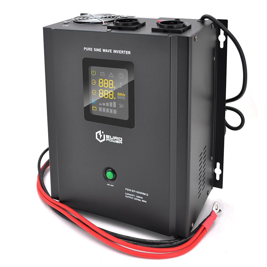 Купить ИБП с правильной синусоидой Europower PSW-EP1000WM12 (700 Вт) 10 \/ 20А, настенный, под внешнюю АКБ 12В , Q1 (410*330*278) 9,15 кг (312*270(310)*170)