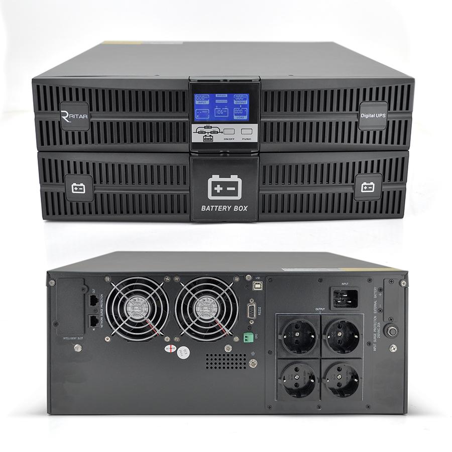 Купить ИБП On-Line Ritar HR1103S 3KVA \/ 2.7kW REC 96В, Встроенная батарея 12V 7 Ah х 8 шт (585*660*335) 35 кг (470*437*173)
