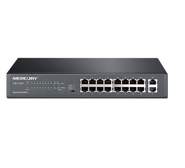 Купить Коммутатор POE Mercury S118PS 16 портов POE 100Мбит + 2 порт Ethernet (UP-Link) 100Мбит, БП встроенный, BOX (294*180*44)