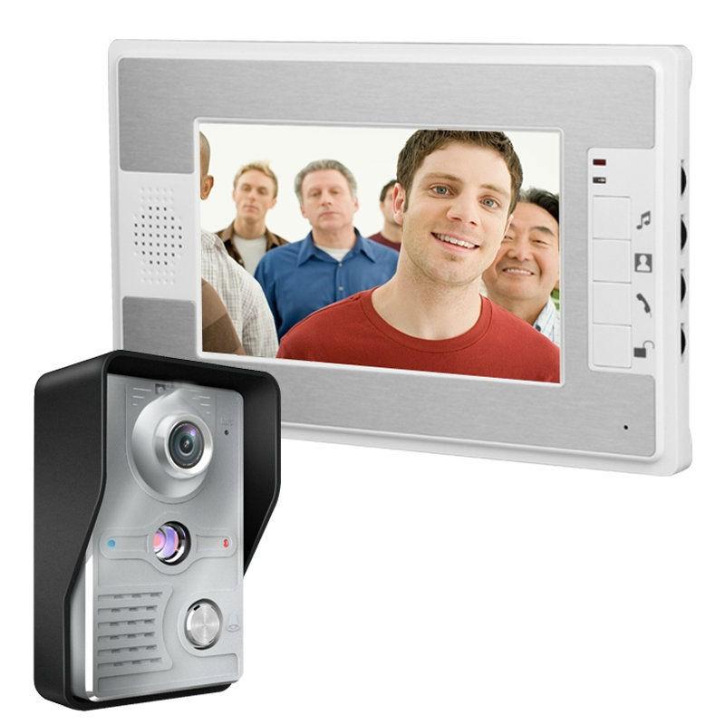 """Купить Комплект видеодомофона ENNIO SY812MKW11 ( 7"""" цветной монитор,цвет белый \/ цветная вызывная панель,цвет серый \/ блок питания 15В \/ 1,2А)"""