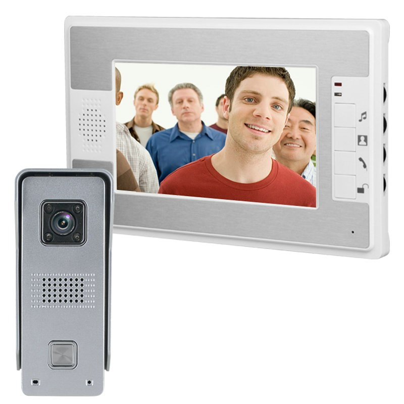 """Купить Комплект видеодомофона ENNIO SY812ML11 ( 7"""" цветной монитор,цвет белый \/ цветная вызывная панель металик \/ блок питания 15В \/ 1,2А)"""