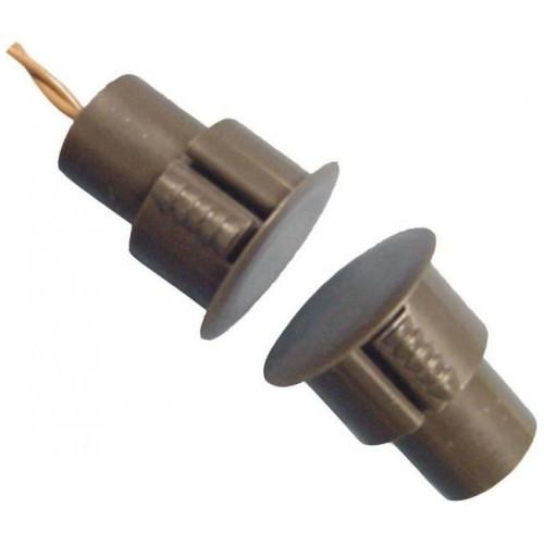 Купить Врезной магнитоконтакт коричневый , ток 60mA, напряжение 12B, тип контактов Н \/ З, рабочее расстояние 18±5% мм, габаритные размеры d24*12,5мм