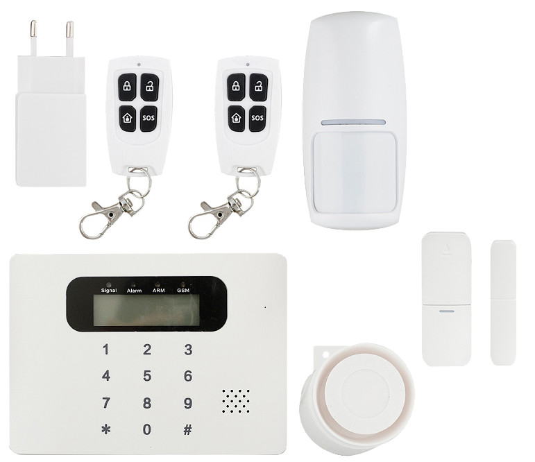 Купить Комплект беспроводной сигнализации GSM 30C Base (централь, RC01-2 шт, PR03-1 шт., DS03-1 шт, сирена бел.)