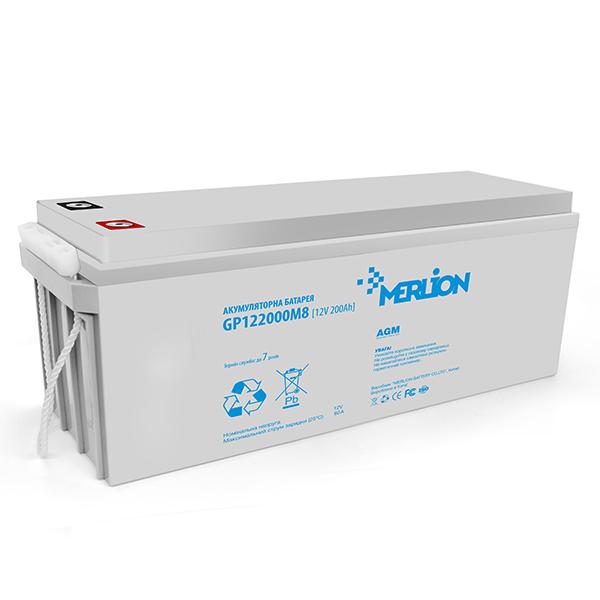 Купить Аккумуляторная батарея MERLION AGM GP122000M8 12 V 200 Ah ( 520 х 235 х 215 (220) ) Q1