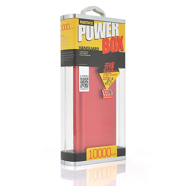 Купить Powerbank (Polymer Battery) Remax Vanguard RP-V10, 2xUSB, 5V, 2.1A, 10000mAh, Red, Blister